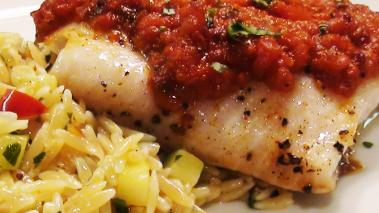 Roasted Halibut with Tomato Sauce and Orzo