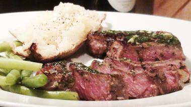 New York Steak With Garlic Parsley Butter