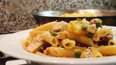 Chicken Penne with Chroizo and Peas Recipe