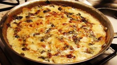 Potato Gratin with Blue Cheese and Spinach Recipe