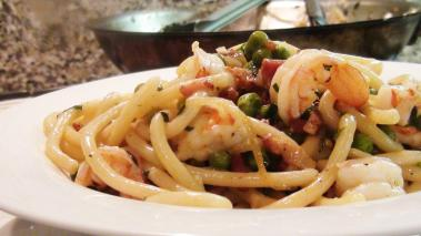 Spahgetti with Shrimp and Pancetta