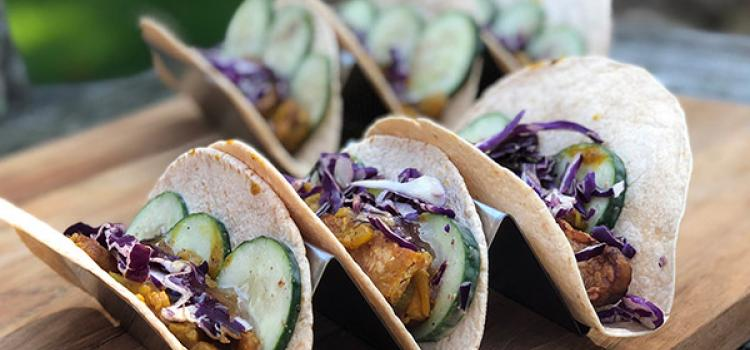 Review of Purple Carrot's Tempeh Tikka Masala Tacos with Yogurt Cucumbers and Mango Chutney