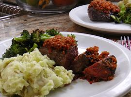 Review of Blue Apron's Parmesan Crusted Steaks with Mashed Potatoes & Broccoli