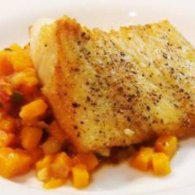 Halibut with Butternut Squash Hash Recipe