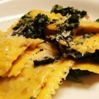 Pumpkin Ravioli with Broccoli Rabe Recipe