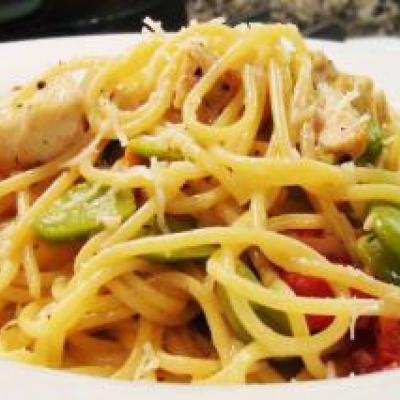 Spaghetti with Chicken and Fava Beans Recipe