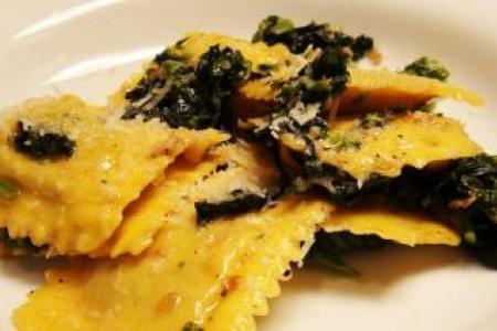 Pumpkin Ravioli with Broccoli Rabe Recipe