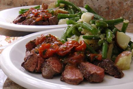 Review of Plated Seared Steak with Cherry Tomato Vinaigrette